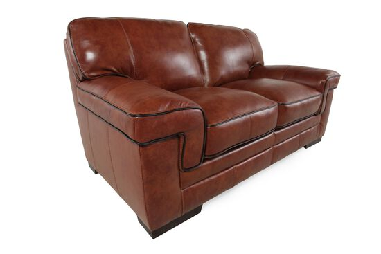 "Casual Leather 69"" Loveseat in Chestnut"