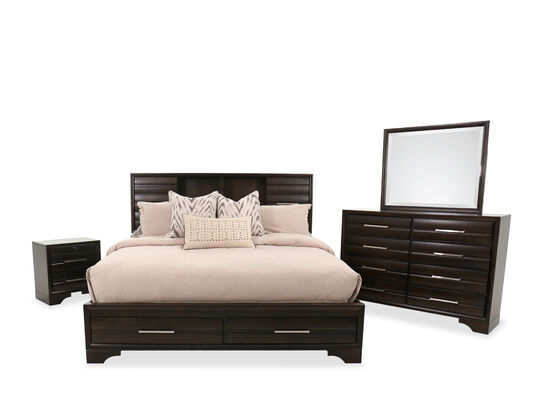 Four-Piece Contemporary King Bedroom Suite in Coffee Brown
