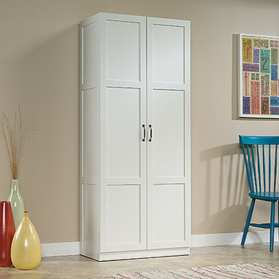 Two Door Contemporary Storage Cabinet In White Mathis Brothers