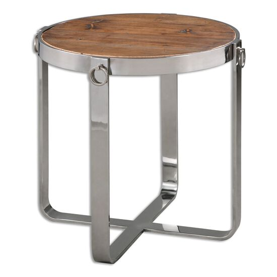 Round Top Side Table in Silver