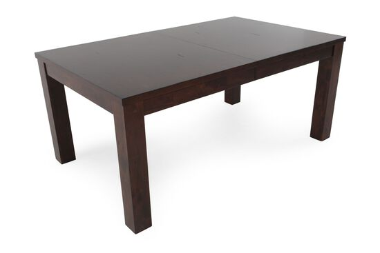 """Casual 68"""" to 84"""" Dining Table with Concealed Butterfly Leaf in Dark Brown"""