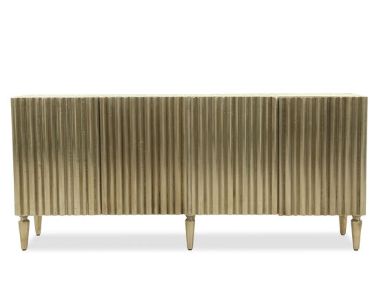 Ridged Traditional Entertainment Console in Silver