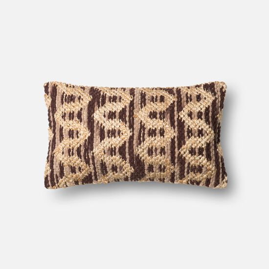 """Contemporary 13""""x21"""" Cover w/poly pillow in Brown/Beige"""