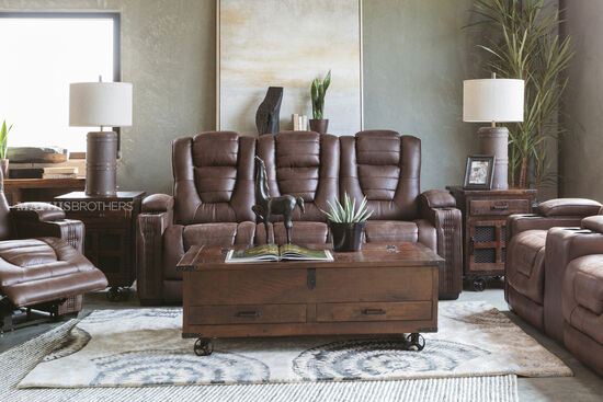"Power Reclining Microfiber 84"" Sofa in Brown"