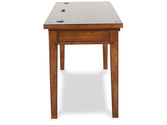 """64"""" Three-Drawer Country Writing Desk in Saddle Brown"""