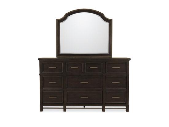 Two-Piece Contemporary Nine-Drawer Dresser & Mirror in Midnight Mink