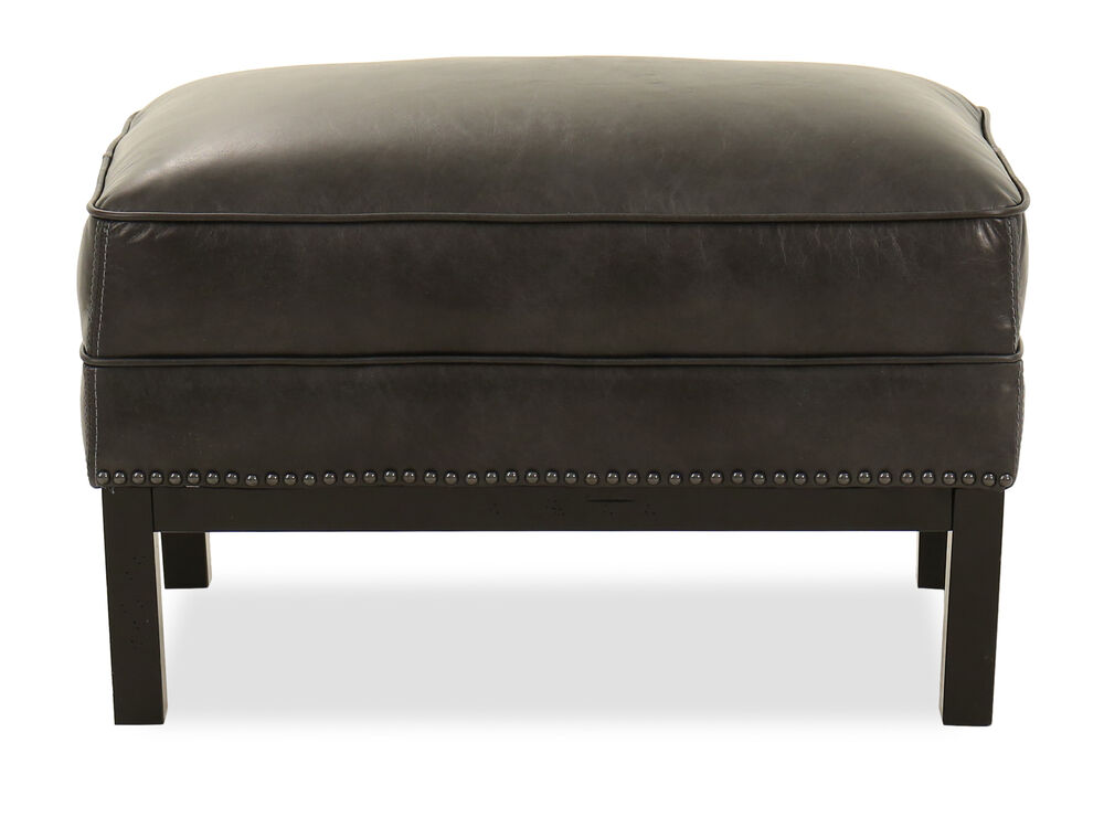 Nailhead Accented Leather Ottoman In Slate Mathis