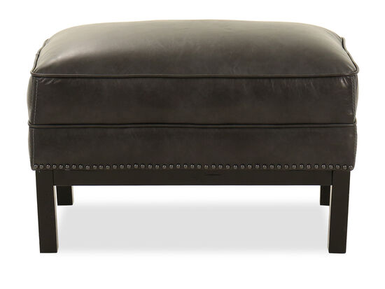 Nailhead-Accented Leather Ottoman in Slate