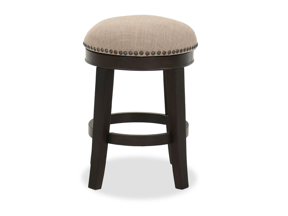 Nailhead-Accented Bar Stool in Brown