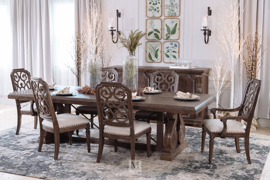 """Traditional 136"""" Rectangular Dining Table in Brown"""