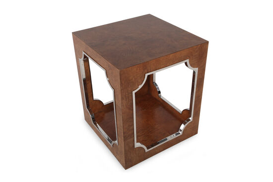 Square Glam End Table in Cherry