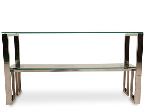 Glass Top Modern Console Table in Silver