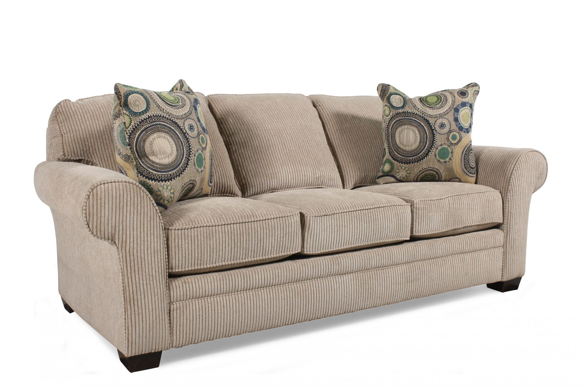 Handcrafted Rolled Arm 72 Queen Sleeper Sofa In Sandstone