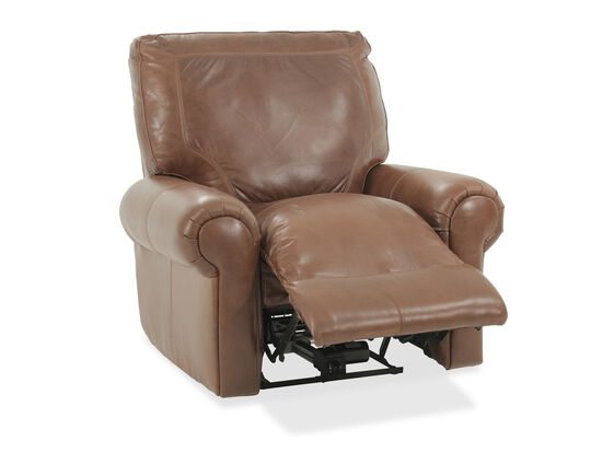 """Leather 39"""" Power Reclinerin Brown"""