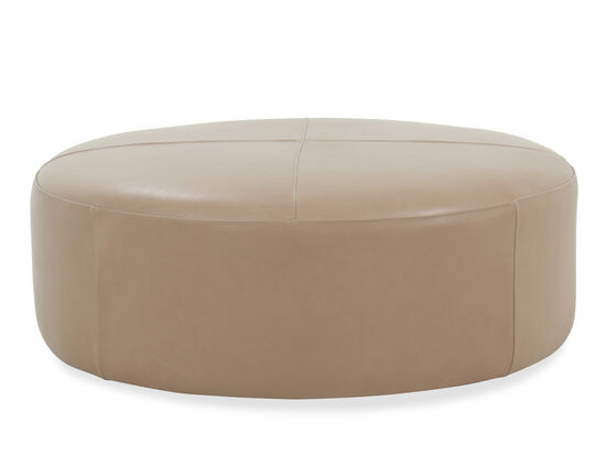"Casual 42"" Leather Round Ottoman in Brown"