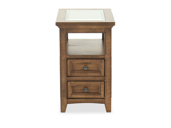 Two-Drawer Transitional End Table in Brown