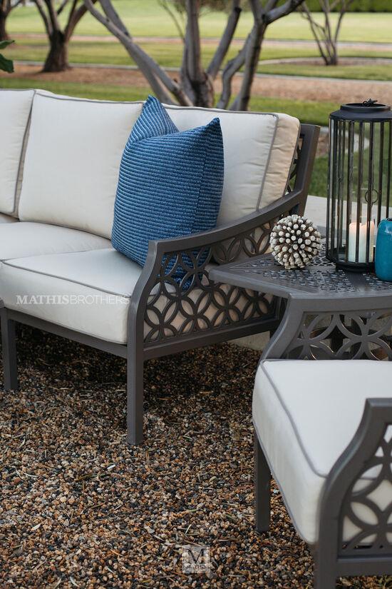 Square Cast Aluminium Patio End Table in Brown