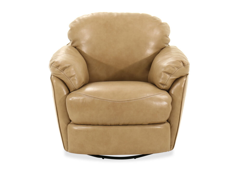 """Leather 37"""" Swivel Chair in Fawn"""