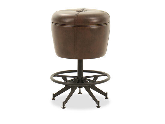 """Traditional 24"""" Button-Tufted Gathering Stool in Brown"""