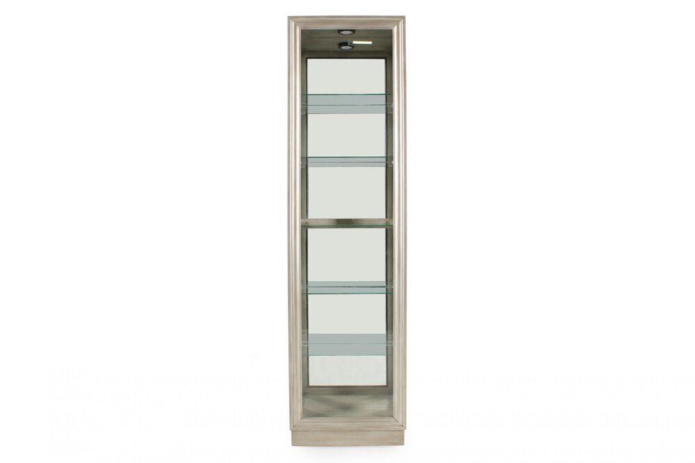Five-Shelf Traditional Narrow Curio in Platinum Silver