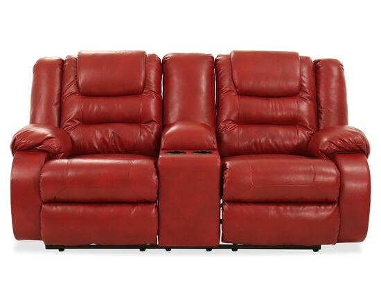 """63"""" Recliner Loveseat with Console in Red"""
