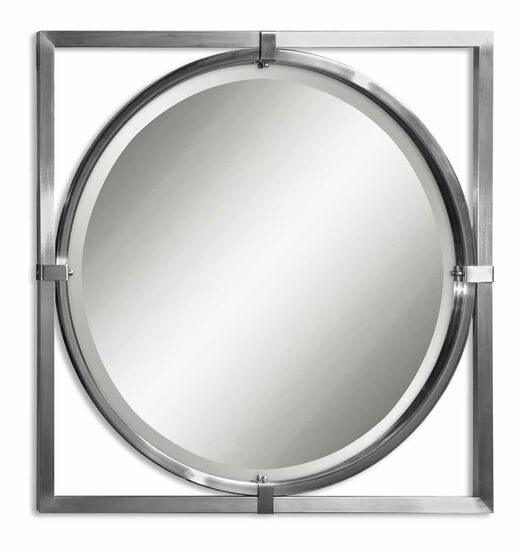 "30"" Beveled Round Mirror in Brushed Nickel"