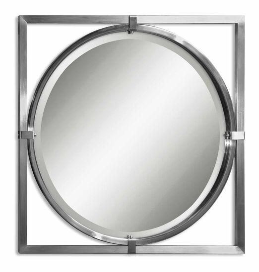 """30"""" Beveled Round Mirrorin Brushed Nickel"""
