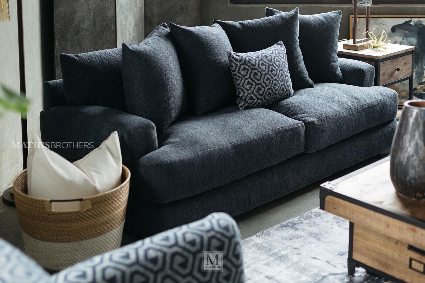 denim living room furniture. Jonathan Louis Plush 87  Sofa in Denim 360 spin Carlin Mathis Brothers Furniture