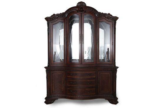 Old World China Cabinet in Dark Pomegranate