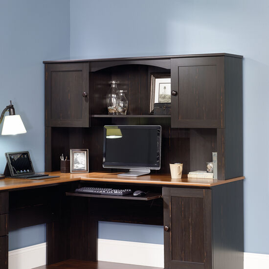 """66"""" Transitional Two-Door Hutch in Antiqued Paint"""