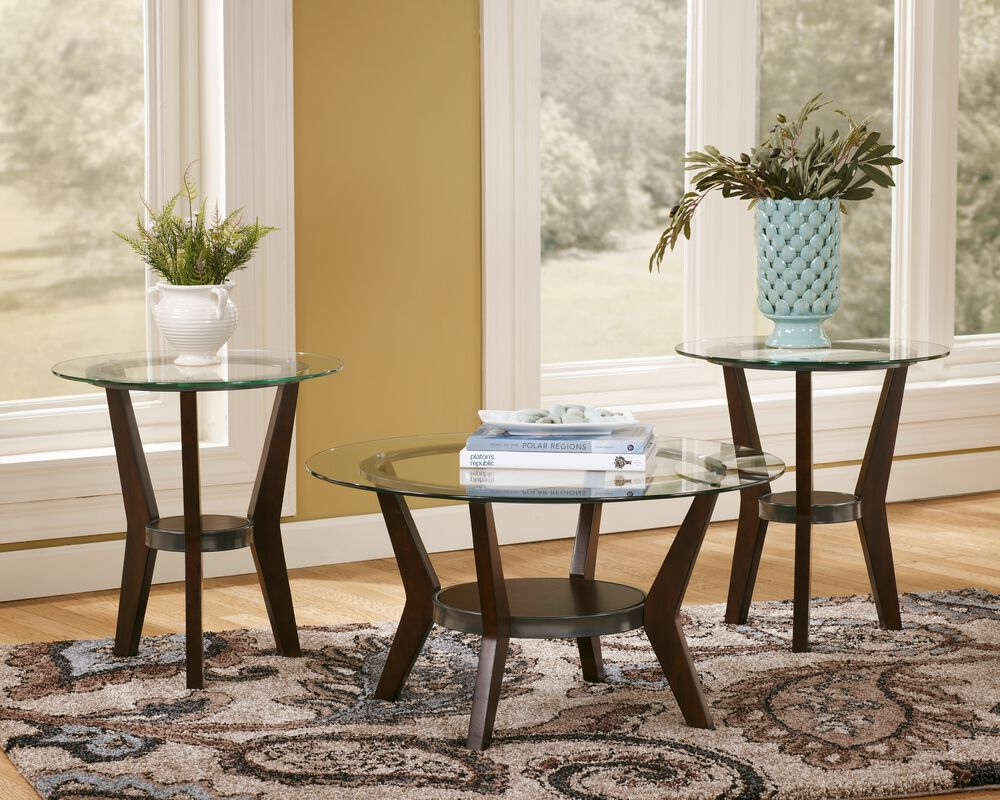Three Piece Round Contemporary Coffee Table Set In Dark Brown Mathis Brothers Furniture