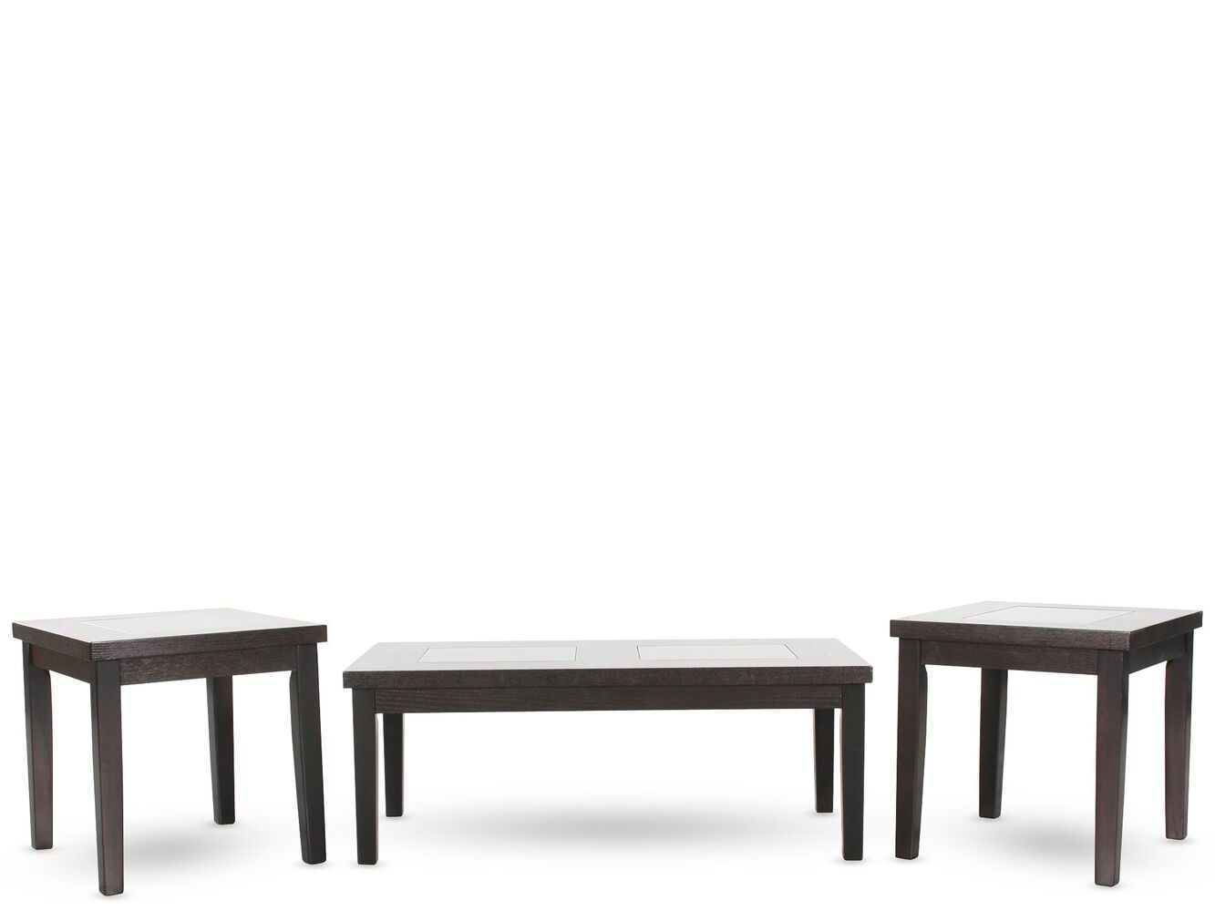 Table sets mathis brothers furniture stores three piece rectangular contemporary coffee table set in dark brown geotapseo Images