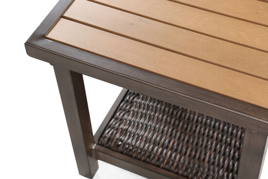 Woven Shelf Aluminum End Tablein Light Brown