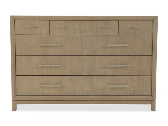 "42"" Modern Nine-Drawer Dresser in Brown"