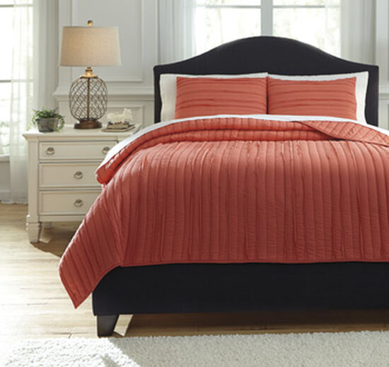 Three-Piece Casual Quilted King Coverlet Set in Coral