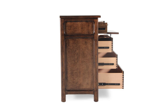 """44"""" Traditional Beveled Eight-Drawer Dresser in Brown"""