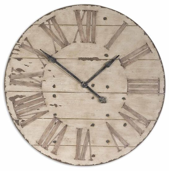 Distressed Round Wall Clock in Antiqued Ivory