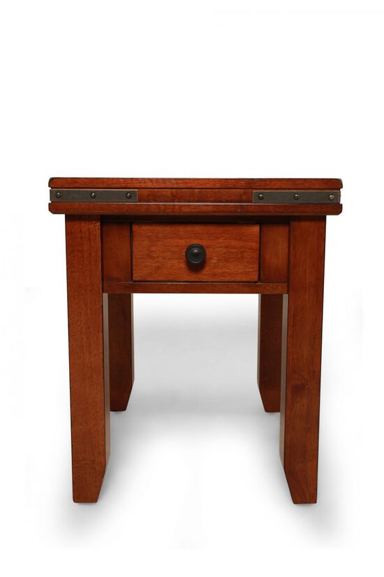Square Traditional Mango Wood End Tablein Warm Brown