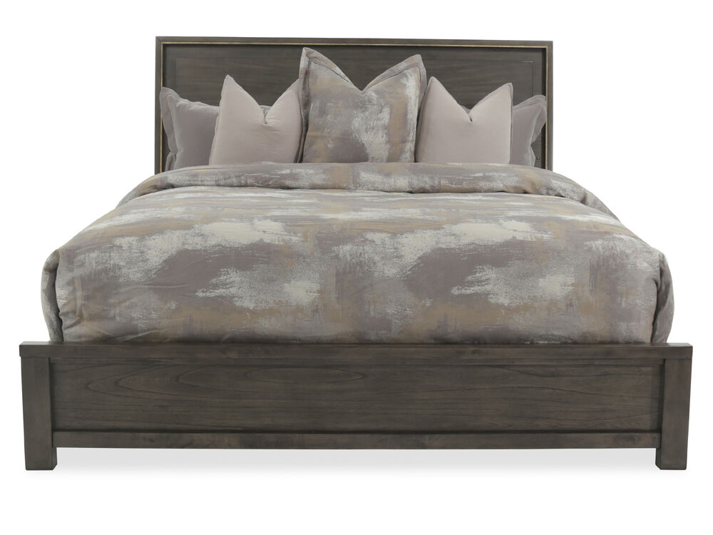 Contemporary Weathered Panel Bed in Dark Gray
