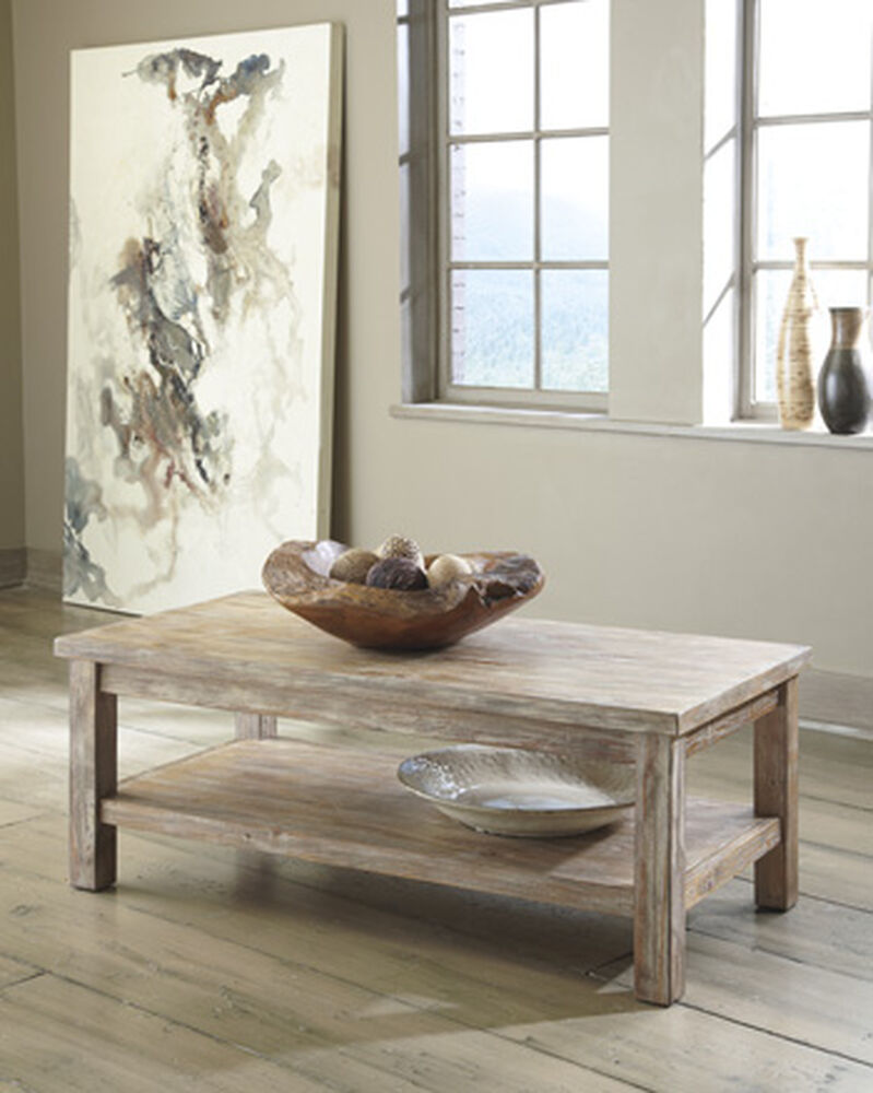 Rectangular Casual Cocktail Table In Bisque Mathis Brothers Furniture