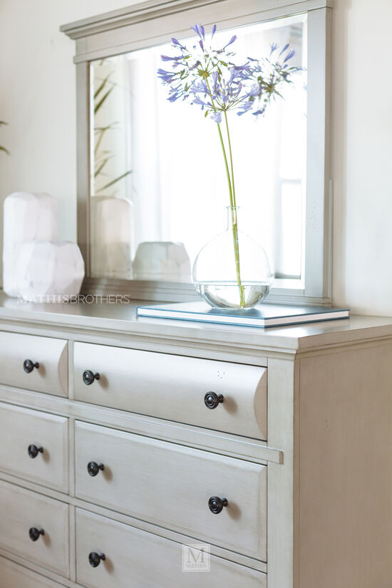 Two-Piece Contemporary Dresser and Mirror in Gray