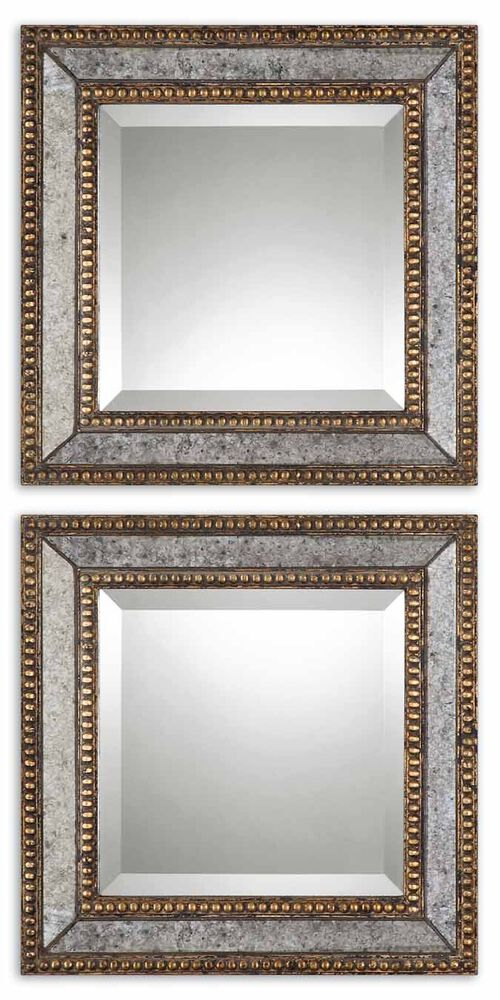 """Two-Piece 18"""" Paneled Accent Mirrors in Antique Gold"""