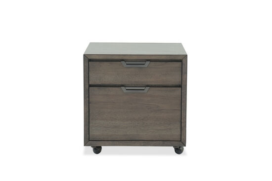 Two-Drawer Mid-Century Modern Rolling File in Dark Brown