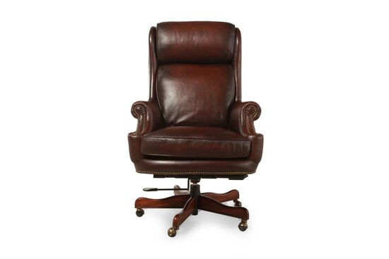 Leather Ergonomic Executive Swivel Tilt Chair in Rich Brown