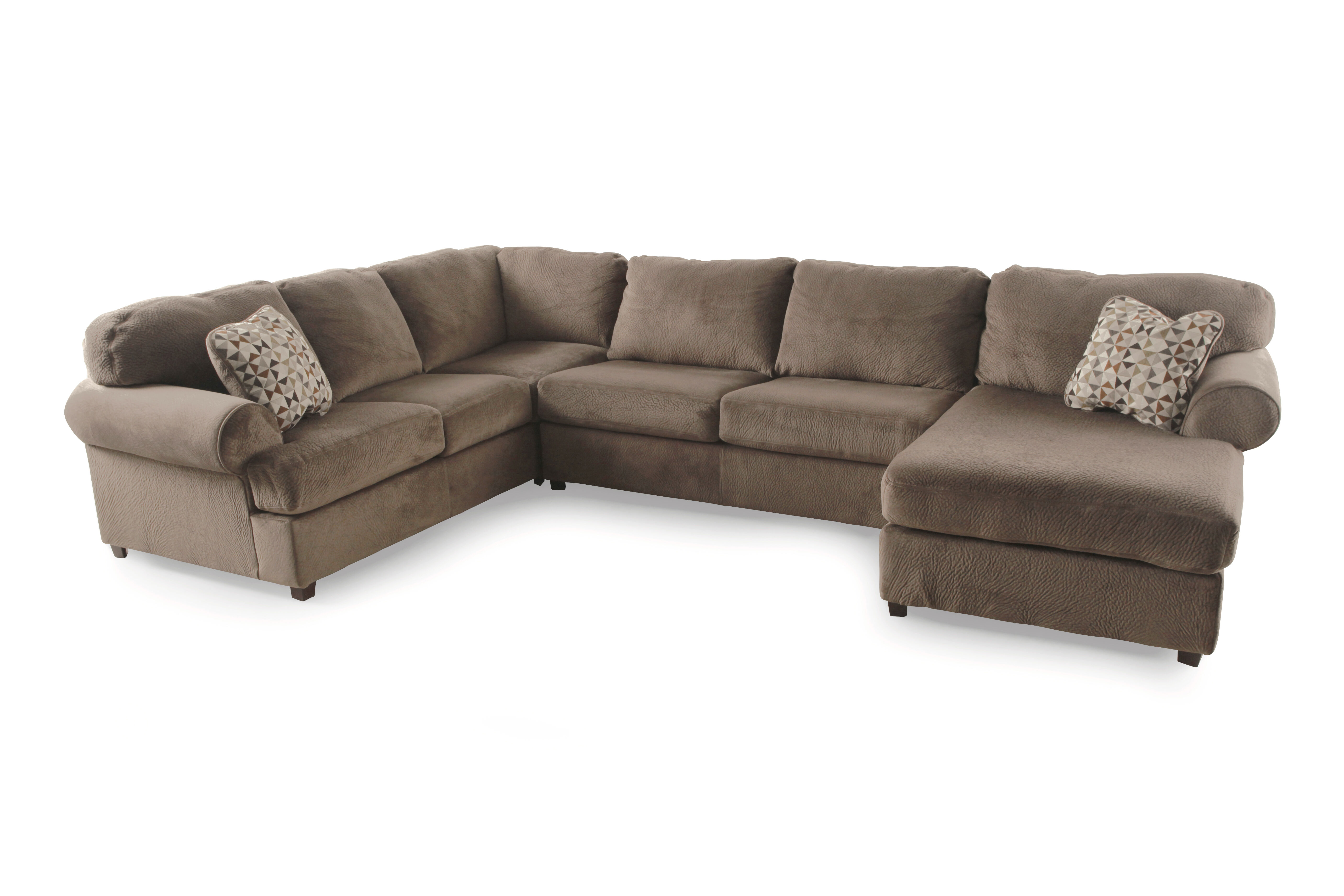 Microfiber 139 Sectional in Brown Dune Mathis Brothers Furniture