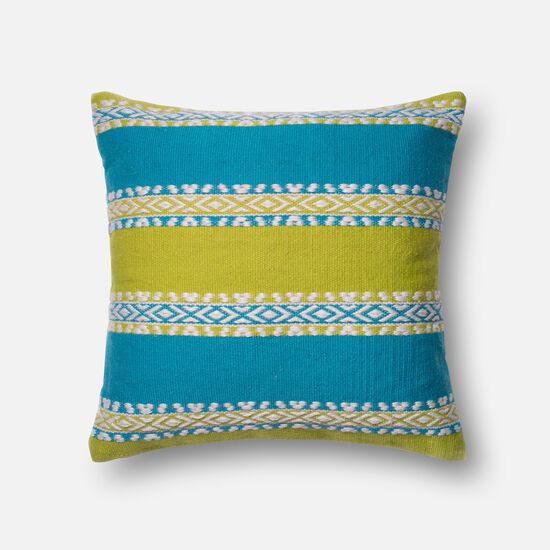 "22""x22"" Pillow Cover Only in Green/Blue"