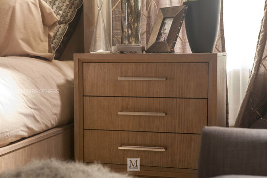 "30"" Modern Three-Drawer Nightstand in Brown"