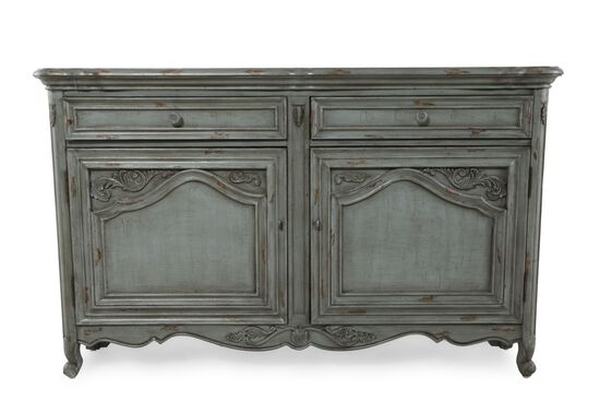 36'' Carved Front Traditional Accent Chest in Turquoise
