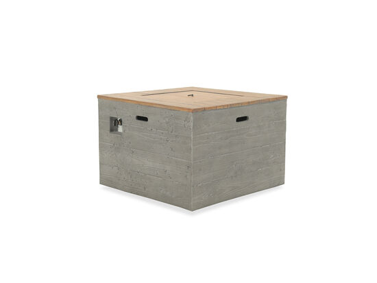 Square Planked Steel Fire Pit Table in Gray