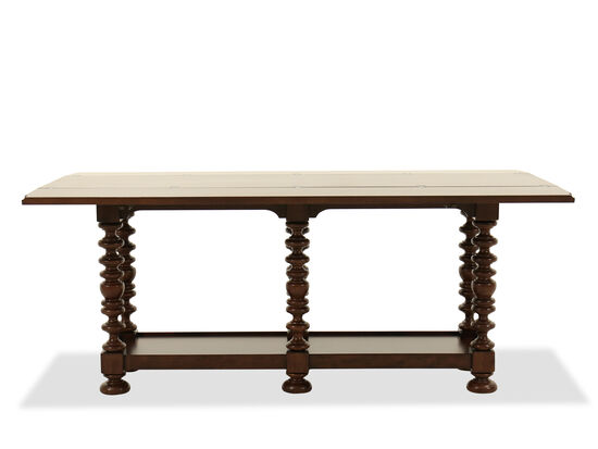 Flip Leaf Top Traditional Console Table in Dark Brown